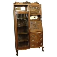 Turn of The Century Oak Side by Side Secretary China Cabinet from breadandbutter on Ruby Lane Antique Secretary Desks, Antique Desk, Antique Cabinets, Antique Furniture, Diy Furniture, Hall Trees, Silver Table, Desk Ideas, Table Desk