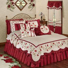 Bellelap Bedroom Adorable Luxury Bedroom Sets Brown And Red Comforter Rose Comforter, Floral Comforter, Red Bedding, Comforter Sets, King Comforter, Luxury Bedroom Sets, Luxurious Bedrooms, Luxury Bedding, Simple Bedroom Design