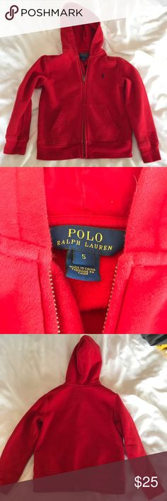 Ralph Lauren Polo Red Boys Hoodie Gently used Polo by Ralph Lauren fleece-lined red hoodie sweatshirt. Fleece is very soft and warm. Small ink stain on pocket (pictured), barely noticeable and definitely not noticeable when worn. Size 5.   MSRP $45.  Shoot me an offer :) Polo by Ralph Lauren Jackets & Coats