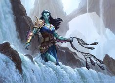 MtG: Oath of the Gatewatch - Umara Entangler by namesjames female aquatic elf ranger fighter sea ocean net waterfall armor clothes clothing fashion player character npc | Create your own roleplaying game material w/ RPG Bard: www.rpgbard.com | Writing inspiration for Dungeons and Dragons DND D&D Pathfinder PFRPG Warhammer 40k Star Wars Shadowrun Call of Cthulhu Lord of the Rings LoTR + d20 fantasy science fiction scifi horror design | Not Trusty Sword art: click artwork for source