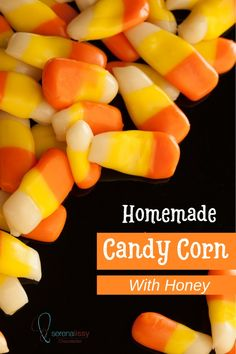 Store-bought candy corn can have waxy texture and too much sugar (corn syrup) in them. In this homemade candy corn recipe, I reduce the amount of corn syrup and replace it with honey. Try this recipe and you might have a new candy addiction. Vegan Candy Corn, Vegan Candies, Chocolate Candy Recipes, Honey Chocolate, Chocolate Bark, Honey Candy, Avocado Salad Recipes, Homemade Candies, Corn Recipe