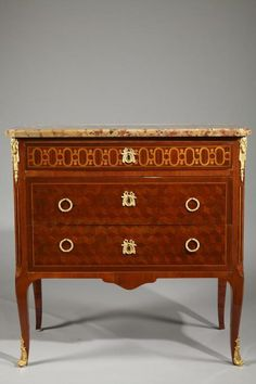 Transitional Style Ormolu-Mounted Marquetry Commode 1880