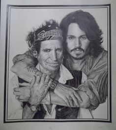 J.Depp,K.Richards pencil o A3 paper