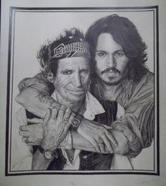 J.Depp,K.Richards pencil o A3 paper