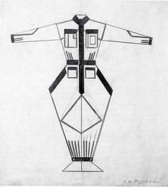 Russian Constructivism works its way into Irina Kruzhilina's costumes for #Petrushka himself, including this piece by Rodchenko, a design for Working Clothes (1922)
