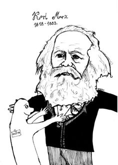 """Karl Marx (1818-1883) Click on this image to find a short stand up act from George Carlin that works well to begin a discussion on Marx's concept of ideology, or as he put it, that """"the ideas of the ruling class R in every epoch the ruling ideas."""" For Marx, these ruling ideas obscure the structural violence & exploitation used to keep oppressed groups in their place. Carlin is expressing this idea when he notes that """"it's called the American Dream because you have to be asleep to believe it"""""""