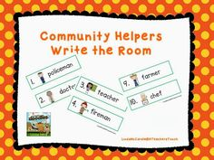"""Community Helpers """"Write the Room"""" (free; from A Teacher's Touch)"""