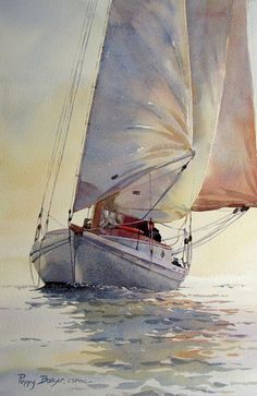 'Light on the Water' by Poppy Balser - (ocean, sea, sailboat, art, illustration) Art Watercolor, Watercolor Landscape, Nautical Art, Fine Art, Painting & Drawing, Amazing Art, Awesome, Poppies, Sailing