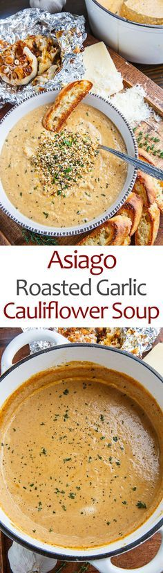 Asiago Roasted Garlic Cauliflower Soup - This is a super simple soup where you roast up the cauliflower and a few heads of garlic and make a soup with them along with plenty of melted asiago cheese! O (Soup And Sandwich Recipes) New Recipes, Vegetarian Recipes, Cooking Recipes, Healthy Recipes, Recipies, Vegetarian Stew, Vegan Meals, Garlic Recipes, Easy Cooking