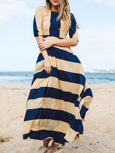 Striped Scoop Neck 3/4 Sleeves Maxi Dress DEEP BLUE: Maxi Dresses   ZAFUL