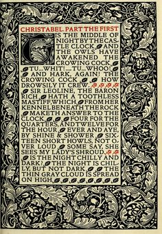 Poems chosen out of the works of Samuel Taylor Coleridge : Printed and sold by William Morris at the Kelmscott Press British Press, William Morris, Chicano, Victorian Era, Junk Journal, The Borrowers, Graffiti, Poems, It Works