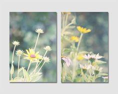 Summer Flower Photograph set of 2 garden black eyed susan cone flowers yellow teal green blue sunny wall art set of 2