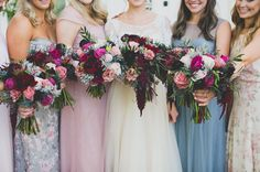 love these vibrant pink bouquets!