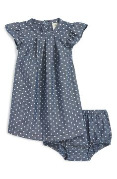 How cute is this polka dot chambray dress complete with ruffly cap sleeves and matching bloomers?