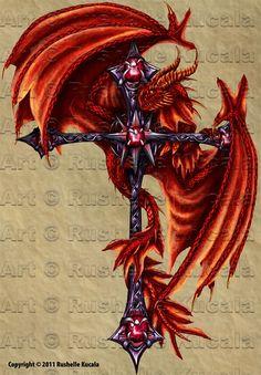 ☆ Tattoo Design: Dragon Cross :: Artist Rushelle Kucala ☆