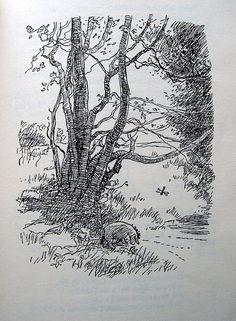 "E.H. Shepard Eeyore  Winnie-The-Pooh ""Eeyore Has A Birthday "" Illustration of Eeyore beside the stream."