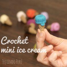 Mini video tutorial de hoy miércoles: helados miniatura tejidos a crochet! English subtitles: crochet mini ice cream!