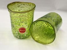 Murano Glass Juice Glass, Lime Green, Set of 2