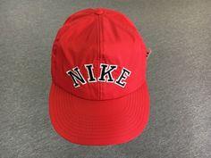 ecc11c7f NIKE Hat 80s/90s Vintage Nylon Snap Back & PIN Spellout Block Letter Cap
