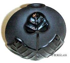 Ebony Black Glass Round Flat Sculpture Vase, Matte Satin with Shiny 3-D Design