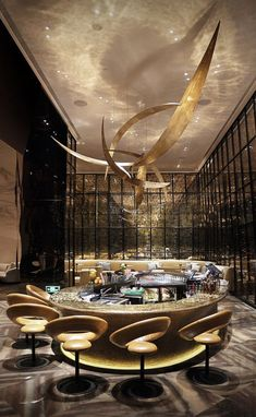Don't wait to get the best luxury bar lighting design inspiration! Bar Lounge, Lounge Design, Design Hotel, Hotel Lounge, Hotel Pool, Club Design, Hotel Suites, Chair Design, Wall Design