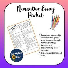 Narrative Essay Packet by The Written Muse | Teachers Pay Teachers