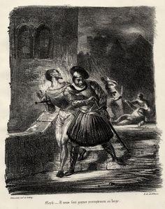 Mephistophélès et Faust fuyant après le duel (Mephistopheles and Faust fleeing after the duel) / Faust Delacroix, 1827.