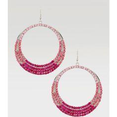 Ombre Crystal Hoop Earring ($23) ❤ liked on Polyvore featuring jewelry, earrings, crystal earrings, crystal jewellery, crystal hoop earrings, bebe earrings and hoop earrings