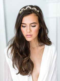 LIA crystal pearl tiara bridal comb, glamorous delicate art deco wedding crown, glam vintage scalloped boho headpiece is part of Amazing wedding makeup - ivory All of my Wedding Makeup Tips, Natural Wedding Makeup, Bride Makeup, Wedding Hair And Makeup, Hair Makeup, Natural Makeup, Bridal Makeup Natural Brunette, Wedding Nails, Soft Bridal Makeup
