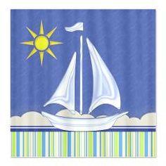 Blue Sail Boat Fabric Shower Curtain