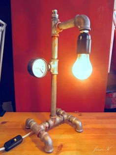 industrial lamp | DIY pipe lamp Diy Pipe, Pipe Lamp, Light Bulb, Industrial, Lighting, Projects, Home Decor, Washroom, Garden