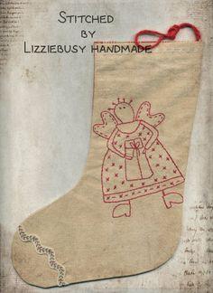 Your choice primitive stitchery redwork by lizziebusyhandmade