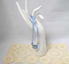 Vintage Czech Glass Blue Glass Bead Necklace by KansasKardsStudio on Etsy