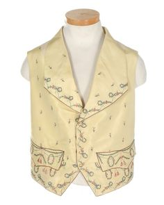 Waistcoat, c. 1795. Primrose-yellow silk with floral ribbon embroidery, embroidered buttons, cotton back panels with ties.