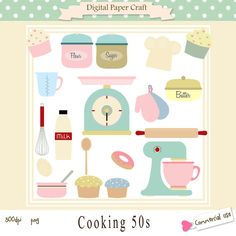 50's Cooking Clipart / 1950's Cooking Clip por DigitalPaperCraft
