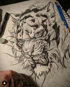 I got so many tigers to draw coming up. This one is for Ryan. Get your beast m… I got so many tigers to draw coming up. This one is for Ryan. Get your beast mode on this week! Stay motivated, don't fight your… Tatoo Tiger, Tiger Tattoo Design, Japanese Tiger Tattoo, Japanese Tattoo Designs, Tiger Drawing, Tiger Art, Tattoo Sketches, Tattoo Drawings, Tattoo Ink