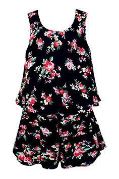 Truly Me, Big Girls Tween Charming Floral Romper, Black Multi, 7-16 ** Find out more details @…