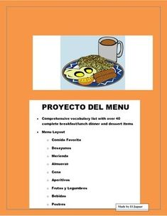 The Food Project was designed to allow students to design their own Menu in Spanish with their favorite foods inluding (breakfast, lunch, snacks, dinner, desserts, beverages and appetizers) This menu will allow students to learn food vocabulary as well as create a personalized product that you can exhibit.