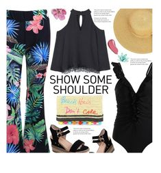 """""""Shimmy, Shimmy: Off-Shoulder Tops"""" by beebeely-look ❤ liked on Polyvore featuring MANGO, Rebecca Minkoff, Burberry, beach, beachstyle, sammydress, tropicalprint and showsomeshoulder"""