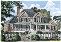Floor Plans AFLFPW22977 - 2 Story Farmhouse Home with 4 Bedrooms, 3 Bathrooms and 2,586 total Square Feet