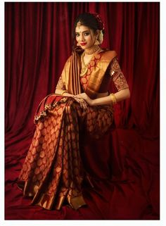 Bridal Sarees South Indian, South Indian Wedding Saree, Bridal Silk Saree, Indian Silk Sarees, Indian Bridal Fashion, Indian Bridal Wear, Indian Wedding Outfits, Bridal Outfits, Saree Wedding