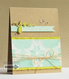 TAWS, The Alley Way Stamps - Thinking of You, Just Because, Friendship, Heat Embossing, Die Cuts, Watercolor, Jute Twine, Dandelion, Kraft, Mint, Lime