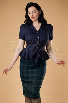 Collectif Clothing - 50s Polly Blackwatch Pencil Skirt in Navy and Green