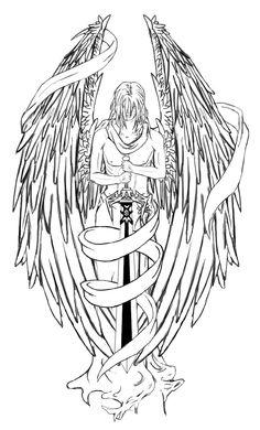 Warrior Angel Tattoo Drawings New outline angel warrior tattoo stencil . Tattoo Guardian Angel, Angel Warrior Tattoo, Angels Tattoo, Angel Tattoo Drawings, Tattoo Design Drawings, Tattoo Designs, Engel Krieger Tattoo, Rosary Tattoo On Hand, Cloud Tattoo Design