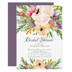 Beautiful Wild Flower Bridal Shower Invitation - tap, personalize, buy right now! Typography Wedding Invitations, Wedding Shower Invitations, Pink Invitations, Floral Invitation, Wedding Shower Gifts, Wedding Gifts, Bridal Shower Flowers, Bridal Gifts, Party Ideas