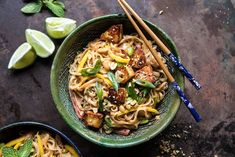 Better Than Takeout 20 Minute Peanut Noodles with Sesame Halloumi. - Half Baked Harvest