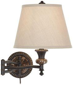 Faux Marble Backplate Bronze Plug-In Swing Arm Wall Lamp   LampsPlus.com