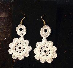 Handmade White Crochet Earrings by SouthBeachTrend