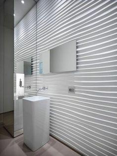 Salle de bains : 15 façons d'adopter le carrelage 3D Panneau Mural 3d, Restroom Cabinets, Bathtub, Mirror, Bathroom, Interior, Furniture, Home Decor, St Denis