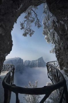 Depiction of Arches and Portals !! - Part 2. -Tianmen Shan's Ghost or the valley plank road at the scenic area. One of the attractions in Zhangjiajie , China.